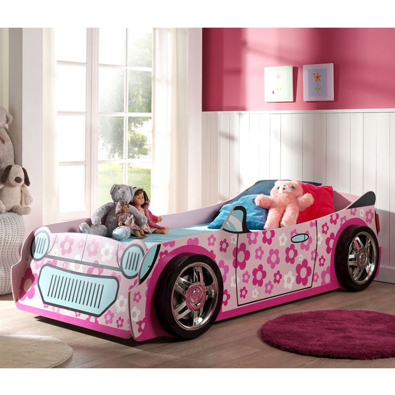 lit enfant voiture flowers rose. Black Bedroom Furniture Sets. Home Design Ideas