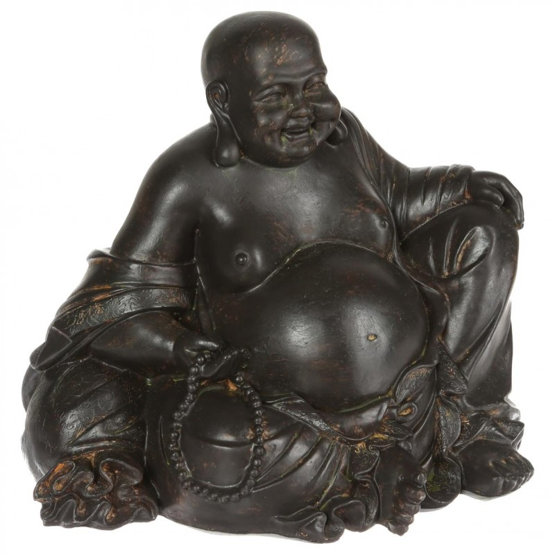 statuette 19cm bouddha rieur noir. Black Bedroom Furniture Sets. Home Design Ideas