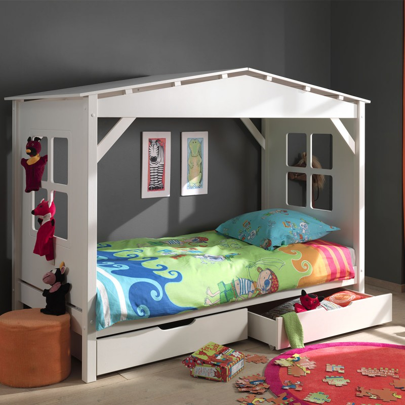 lit enfant cabane home 2 tiroirs de lit blanc. Black Bedroom Furniture Sets. Home Design Ideas
