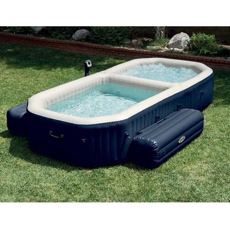 Piscine spa gonflable bulles jets 4 places noir for Prix piscine spa