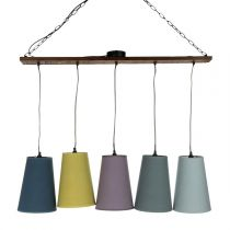 Lampe Suspension Bois 5 Têtes Multicolore