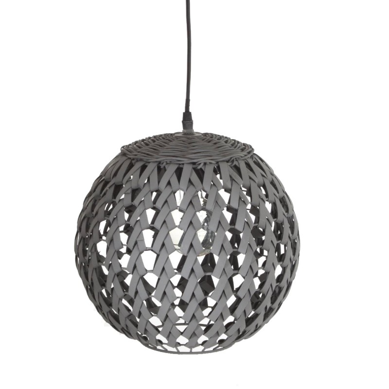 lampe suspension bambou boule 30cm noir