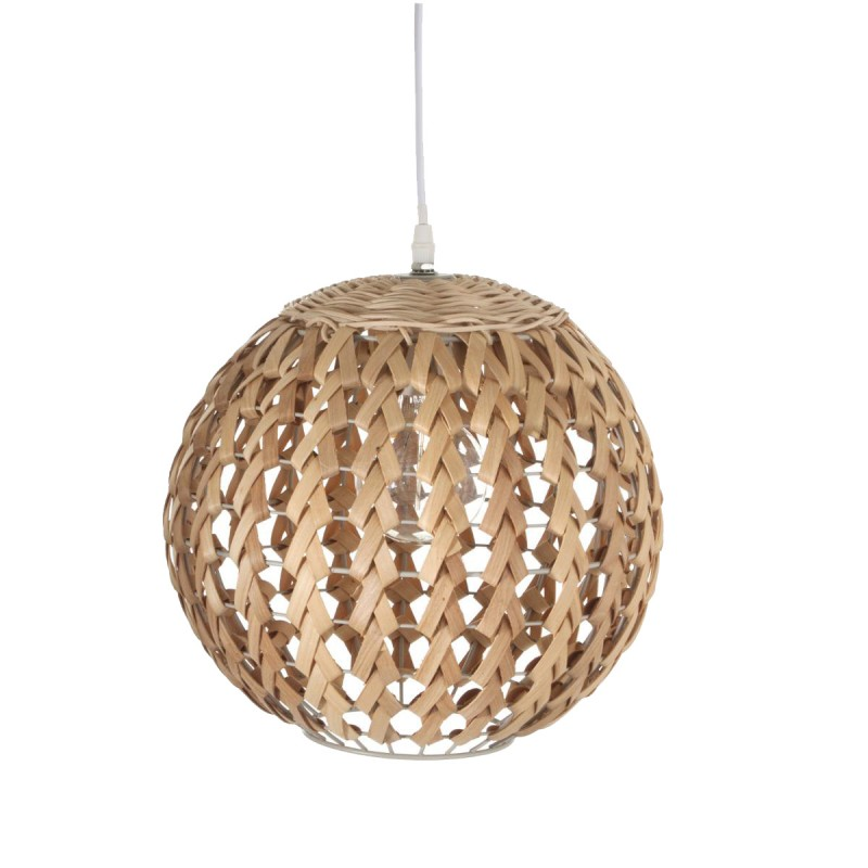 Lampe suspension bambou boule 30cm naturel - Lampe suspension boule ...