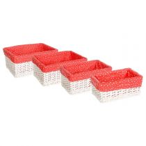 "Lot de 4 Paniers Rectangulaire en Osier ""Pois"" Rouge"