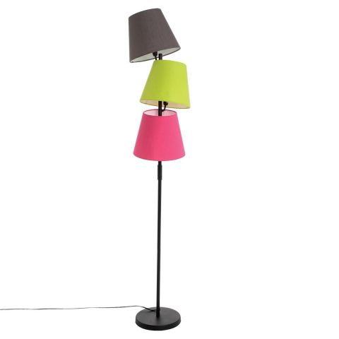 lampadaire 3 t tes abat jour 163cm multicolore. Black Bedroom Furniture Sets. Home Design Ideas