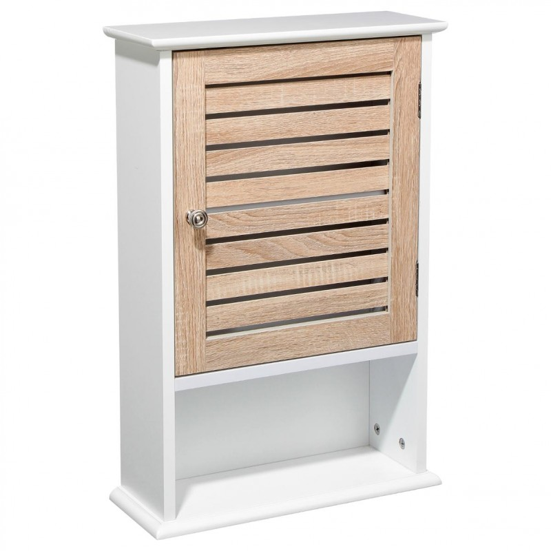 Meuble haut 1 porte patine 60cm blanc for Porte 60 cm de large