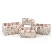 "Lot de 4 Paniers Rectangulaire ""Bistrot"" Naturel"