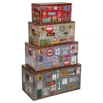 "Lot de 4 Malles de Rangement ""City"" Multicolore"