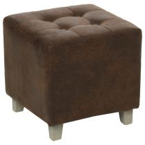 "Pouf Design Imitation Cuir ""Leandre"" 35cm Marron"