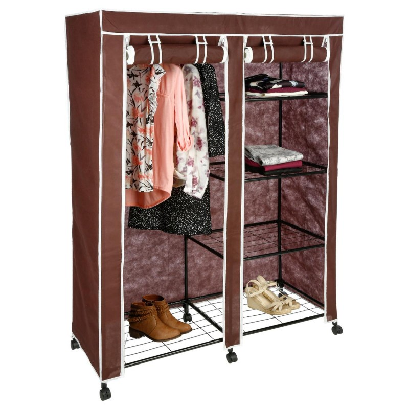 armoire de rangement v tement double marron. Black Bedroom Furniture Sets. Home Design Ideas