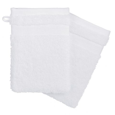Lot de 2 Gants de Toilette 15x21cm Blanc