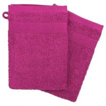 "Lot de 2 Gants de Toilette ""Confort"" 15x21cm Fuchsia"