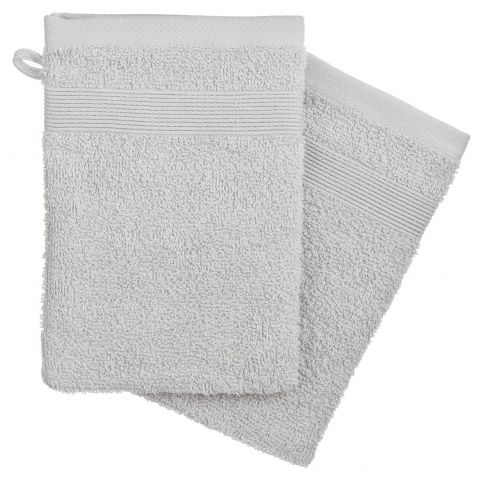 Lot de 2 Gants de Toilette 15x21cm Gris