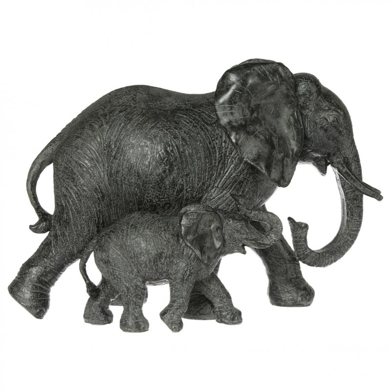statue l phant en r sine 15cm gris fonc. Black Bedroom Furniture Sets. Home Design Ideas
