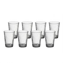 "Lot de 8 Gobelets en Verre ""Flower"" Transparent"