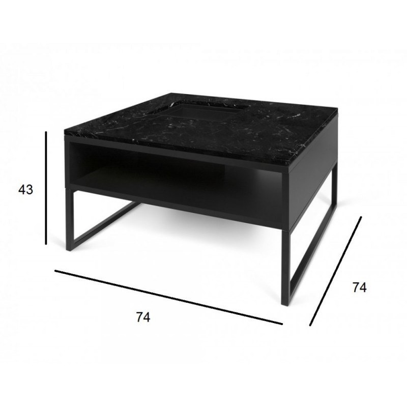Temahome table basse sigma marbre noir pieds en m tal for Table basse marbre
