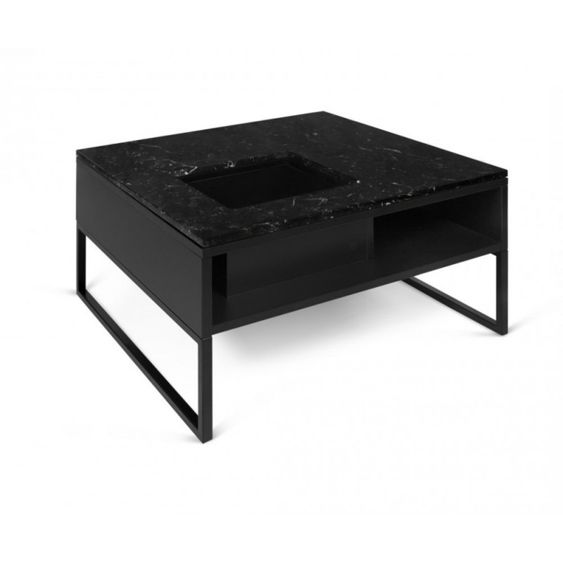 Temahome table basse sigma marbre noir pieds en m tal - Table basse marbre noir ...