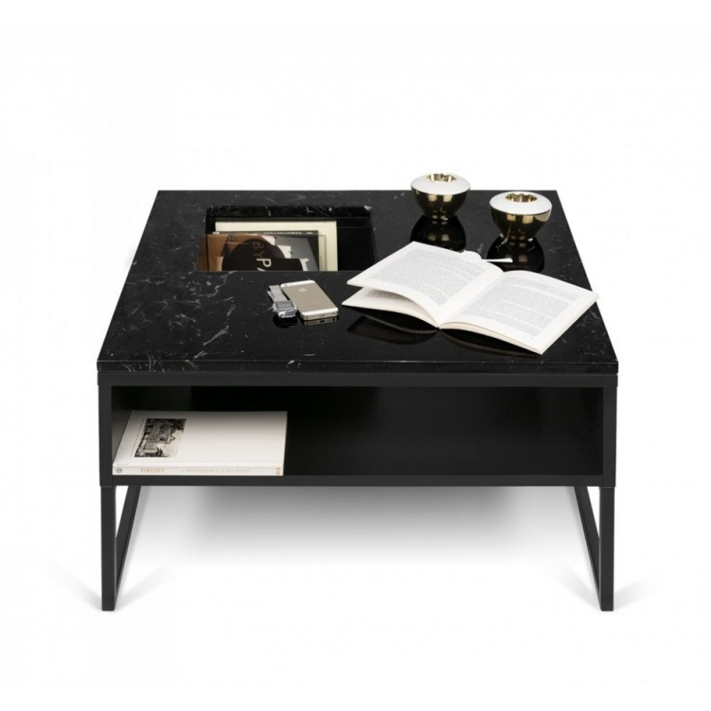 Temahome table basse sigma marbre noir pieds en m tal for Table basse en marbre