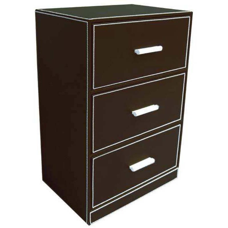 meuble de rangement 3 tiroirs en simili cuir. Black Bedroom Furniture Sets. Home Design Ideas