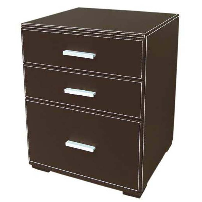 Meuble commode 3 tiroirs en simili cuir for Meuble 3 tiroirs