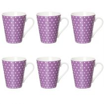 "Lot de 6 Mugs Coniques ""Pois"" Violet"