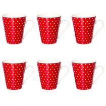 "Lot de 6 Mugs Coniques ""Pois"" Rouge"