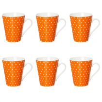 "Lot de 6 Mugs Coniques ""Pois"" Orange"