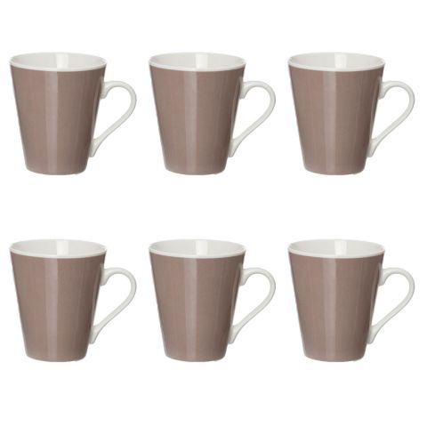 "Lot de 6 Mugs Coniques ""Uni"" Gris"