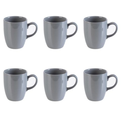 "Lot de 6 Mugs ""Arrondi"" Gris"