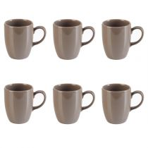"Lot de 6 Mugs ""Arrondi"" Taupe"