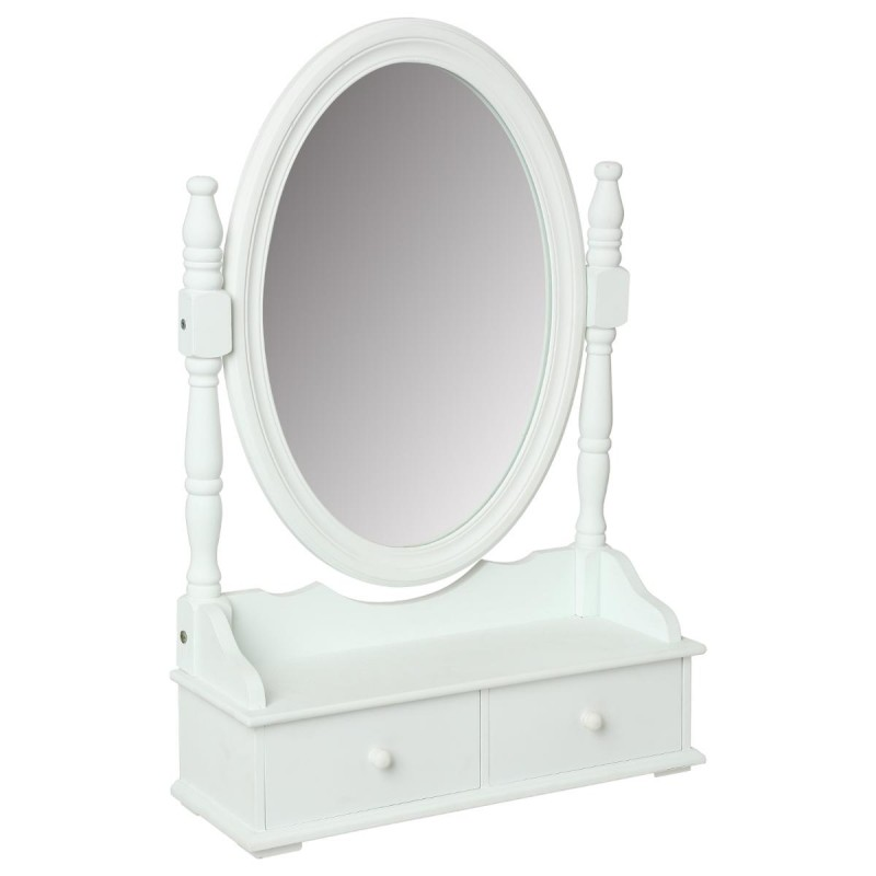 miroir range bijoux 2 tiroirs 75cm blanc. Black Bedroom Furniture Sets. Home Design Ideas