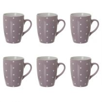 "Lot de 6 Mugs ""Gros Pois"" 32cl Violet"