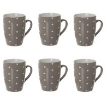 "Lot de 6 Mugs ""Gros Pois"" 32cl Taupe"