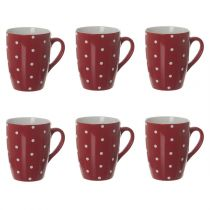 "Lot de 6 Mugs ""Gros Pois"" 32cl Rouge"