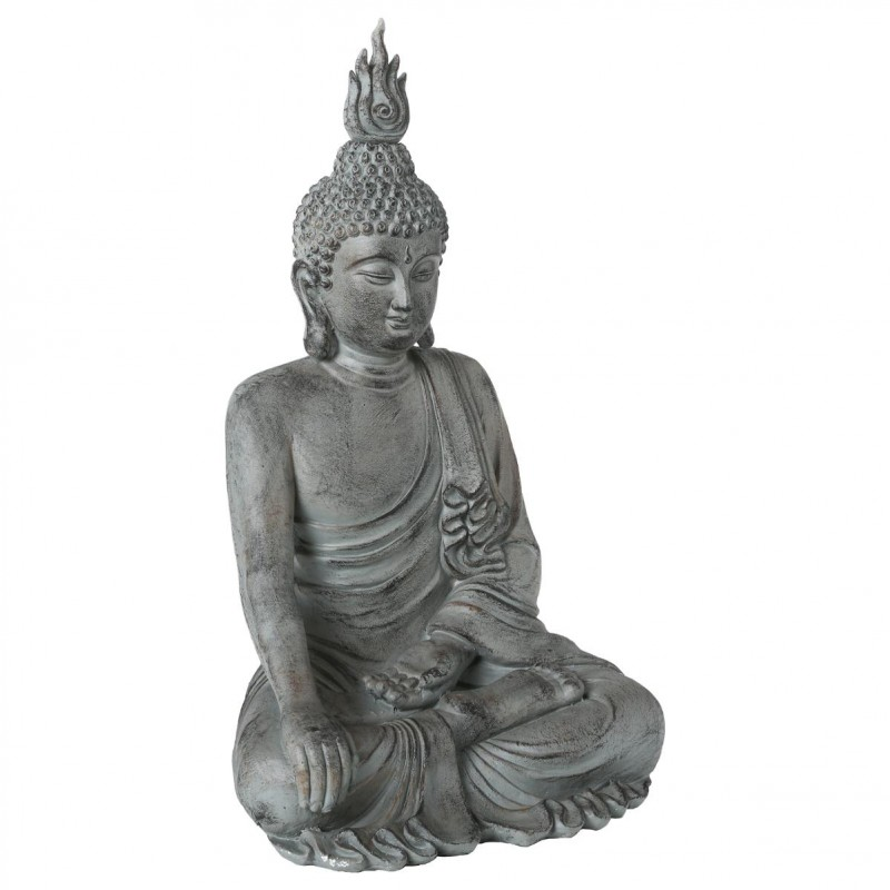 Statue d co bouddha assis 106cm gris - Decoration de jardin statue ...