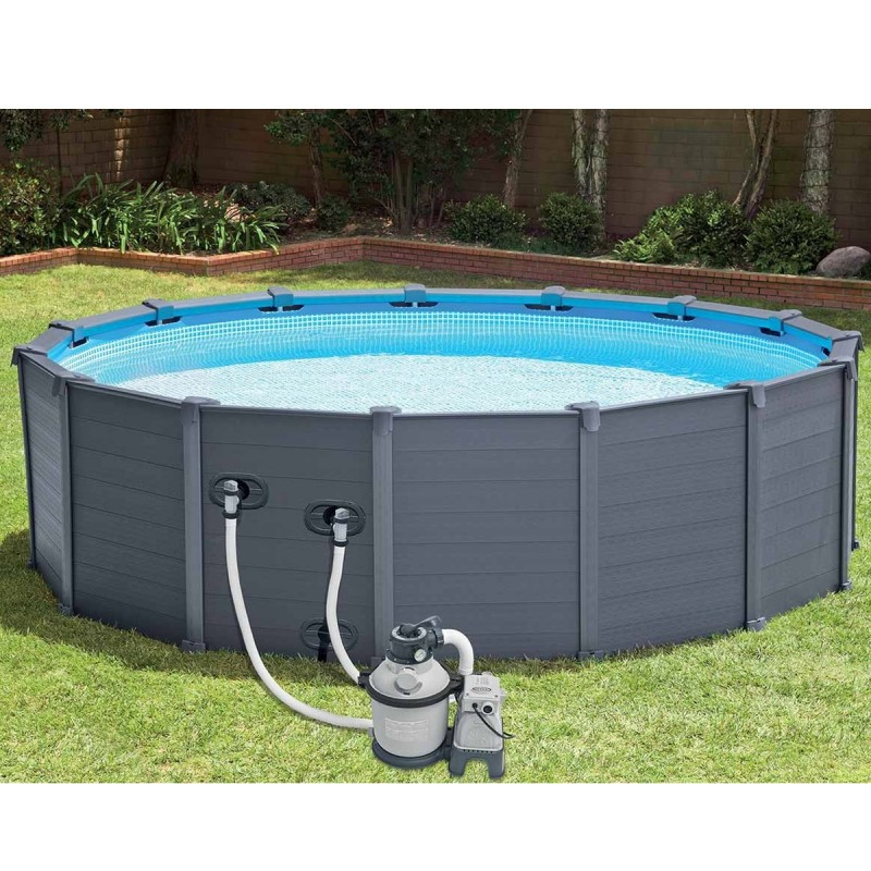 Piscine hors sol tubulaires graphite 478x124cm gris for Piscine hors sol dimension