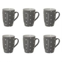 "Lot de 6 Mugs ""Gros Pois"" 32cl Gris"