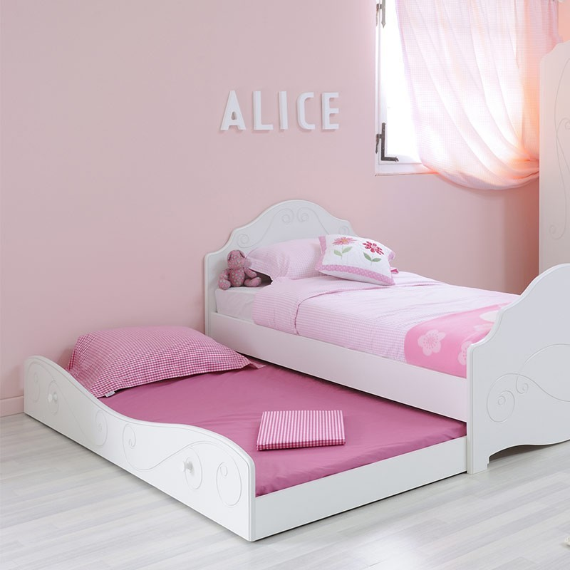 tiroir de lit enfant betty 90x190cm blanc. Black Bedroom Furniture Sets. Home Design Ideas