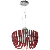"Lampe Suspension 3 Têtes Métal ""Moly"" 100cm Rouge"