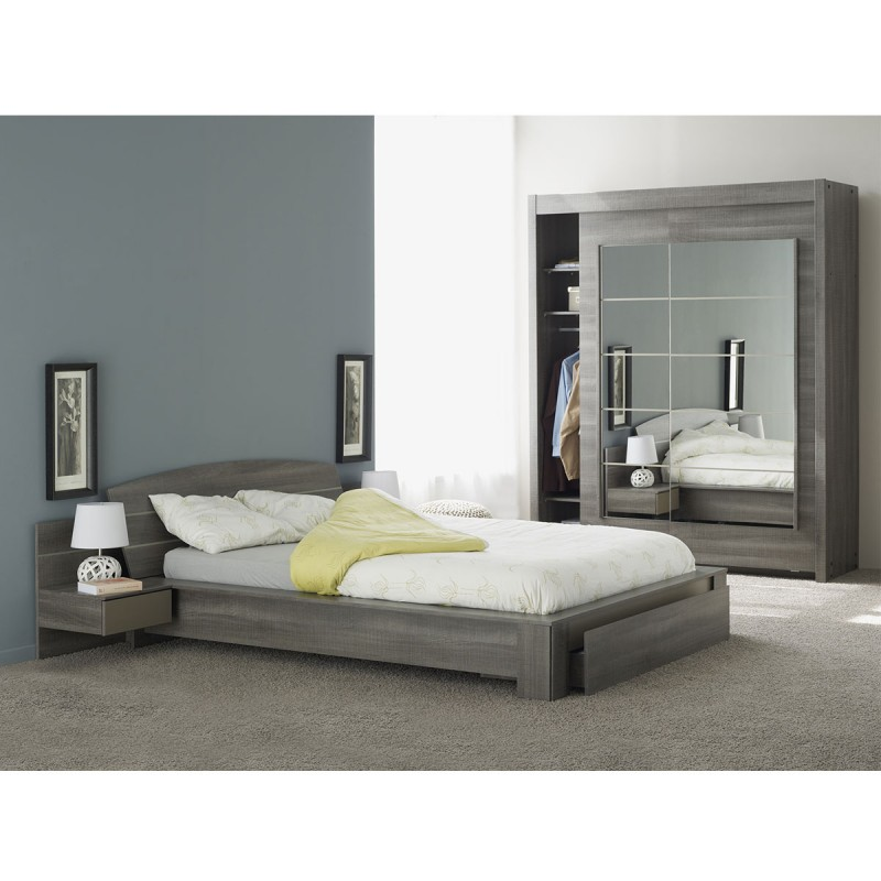 lit adulte avec tiroir gaby 140x190cm r glisse. Black Bedroom Furniture Sets. Home Design Ideas