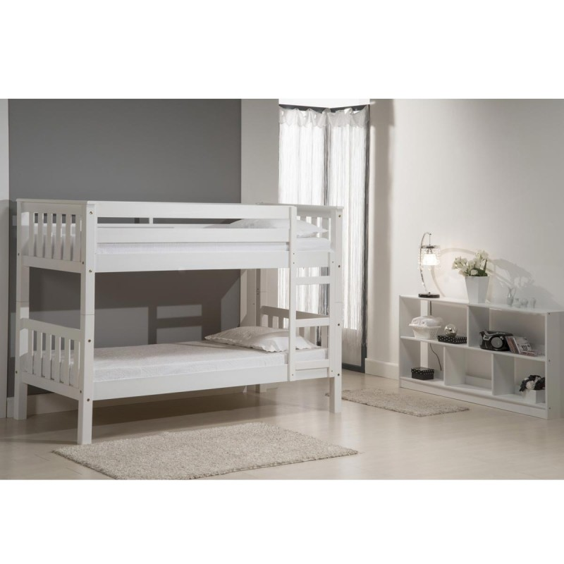 lit superpos enfant barcelona 75x190cm blanc. Black Bedroom Furniture Sets. Home Design Ideas