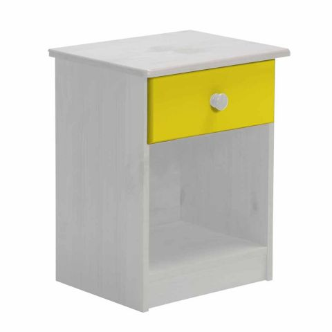 table de chevet 1 tiroir verona 58cm blanc jaune. Black Bedroom Furniture Sets. Home Design Ideas