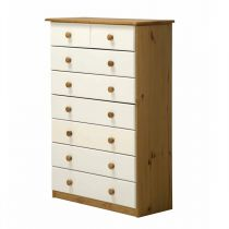 "Commode 8 Tiroirs ""Verona"" 124cm Naturel & Blanc"