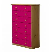 "Commode 8 Tiroirs ""Verona"" 124cm Naturel & Fuchsia"