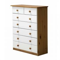 "Commode 7 Tiroirs ""Verona"" 107cm Naturel & Blanc"