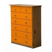 "Commode 7 Tiroirs ""Verona"" 107cm Naturel & Orange"