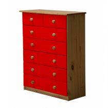 "Commode 7 Tiroirs ""Verona"" 107cm Naturel & Rouge"
