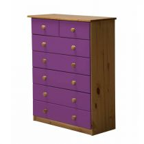 "Commode 7 Tiroirs ""Verona"" 107cm Naturel & Lilas"
