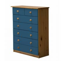 "Commode 7 Tiroirs ""Verona"" 107cm Naturel & Bleu"