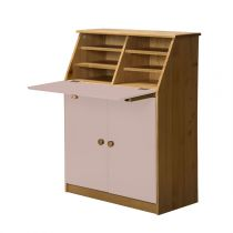 "Bureau Enfant ""Hobby"" 108cm Naturel & Rose"